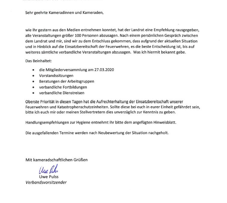 Sämtliche Veranstaltungen des KFV LUP werden bis auf weiteres abgesagt